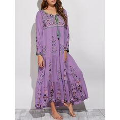 Bohemian Scoop Neck Embroidered Swing Maxi Dress (96 BAM) ❤ liked on Polyvore featuring dresses, purple dress, embroidery dresses, purple boho dress, boho style dresses and boho embroidered dress