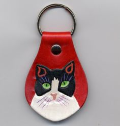 Cat Head Shot leather Key Fob by leatherarts on Etsy
