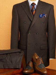 100% Wool Stripe Double Breasted, Peak Lapel Suit from Paul Fredrick