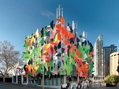 Pixel Melbourne - Boasting a multi-coloured façade of bright colours, the exterior seeks to do more than please the eye. It operates to provide a shade screen, windows of the double glazed variety, ventilation and daylighting.
