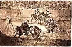 Corrida de toros - Wikipedia, la enciclopedia libre:  Pepe-Hillo, figura del toreo de la última década del siglo XVIII, en un grabado de Goya.