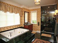 Master Bathroom Jacuzzi Tub Sink Tile Marble Tan Brown Cherry