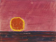 huariqueje:    Ringed Sun   -   Milton Avery  1960   American  1885-1965   oil on paper17 ½ by 23 inches(44.5 by 58.4 cm)