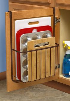 Over the Cabinet Cutting Board and Bakeware Holder Cabinet Door Organizer Find out more about update kitchen cabinets Diy Kitchen Storage, Kitchen Cabinet Organization, Home Organization Hacks, Home Decor Kitchen, Kitchen Furniture, Kitchen Ideas, Cabinet Ideas, Cabinet Organizers, Cabinet Storage