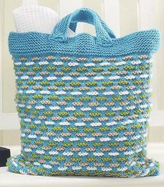 Free Knitting Pattern for Basket Weave Bag - Tote with colorwork accents by Willow Yarns makes a fun summer or beach carryall. Finished Measurements: Width: 12″ (30cm) Height: 15″ (38cm) Depth: 3″ (7.6cm)