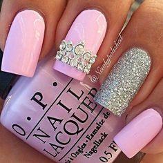 pink & silver glitter mani