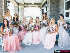 Wedding Album: Dancing with the Stars Pro Lindsay Arnold Shares Photos from Her Big Day | BLOOMING BEAUTIES | Varying flowers and greens made up the bouquets carried by Arnold and her eight bridesmaids, who each wore different dress styles while still staying true to the ceremony's color scheme.