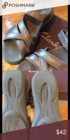 CLARKS SANDALS. Comfortable Clarks Sandals, The Color On Box Says Pewter. Great Neutral Color!🎀 Worn One Time! Clarks Shoes Sandals
