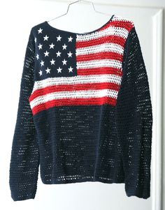 I want this so badly it hurts.   American Flag Loose Knit SeeThrough Red White by HumanNightmare, $65.00