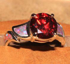 fire opal Garnet ring Gemstone silver jewelry Sz 8 cocktail design HK