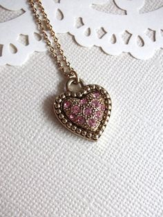 Antique Gold & Pink Jeweled Heart Necklace by arianaalysedesigns, $22.00