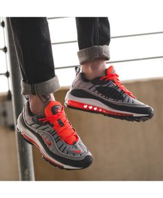 best sneakers df96b c1be9 Nike Air Max 98 Wolf Grey Total Crimson Trainer Nike Air Max Trainers, Mens  Trainers