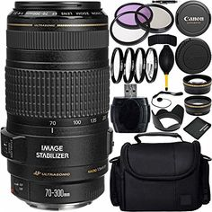 Introducing Canon EF 70300mm f456 IS USM Lens Bundle with Manufacturer Accessories  Accessory Kit for EOS 7D Mark II 7D 80D 70D 60D 50D 40D 30D 20D Rebel T6s T6i T5i T4i SL1 T3i T6 T5 T3. Great Product and follow us to get more updates! Nikon D3100, Sony A6000, Canon Zoom Lens, Canon Ef, Iphone 6, Rebel, Digital Camera Lens, Camera Photos, 70d