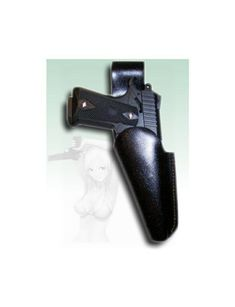Custom leather sports gun holster made for a 1911 auto pistol.