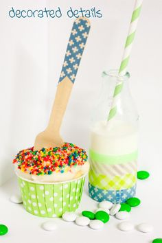 Washi tape milk jar and wooden spoon