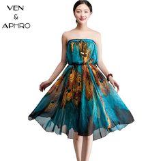 VA  2016 Summer Women Bohemian Floral Print Big Hem Peacock Butterfly Chiffon Floor Long Maxi Skirts Of Tulle saia faldas W04455