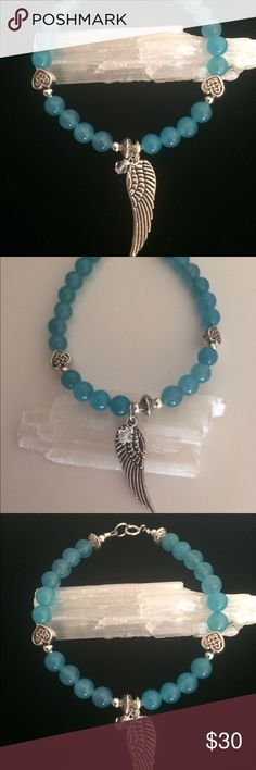 "Gemstone Angel Wing Charm Bracelet  Beautiful Blue Apatite Gemstones with Antique Carved Celtic Heart beads and Angel Wing Charm! Swarovski Crystal dangle. Sterling Silver beads and clasp. 7 1/2""  Custom Size Available  Jewelry Bracelets"