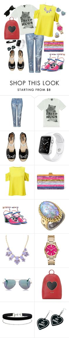 """День/ночь"" by shpurikova ❤ liked on Polyvore featuring Topshop, Forever 21, Karl Lagerfeld, Apple, Miss Selfridge, Edie Parker, Valentino, Michael Barin, Kate Spade and Michael Kors"