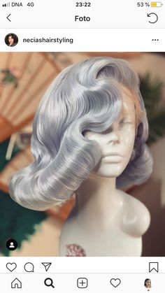 Retro Hairstyles, Wig Hairstyles, Wig Styles, Curly Hair Styles, Prom Hair Updo, Hair Reference, How To Draw Hair, Up Girl, Blue Hair