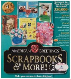 American Greetings Scrapbooks & More! Compatible with Windows & Windows NT. Scrapbook Software, Digital Scrapbooking, American Greetings, Scrapbooks, Cardmaking, Banner, Paper Crafts, Internet, Make It Yourself