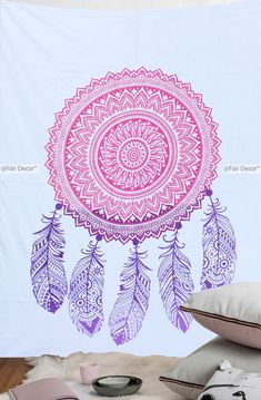 Mandala Feather Dream Catcher Tapestry $18 USD Only, Size - 135x210 Cm Approx. Worldwide Shipping