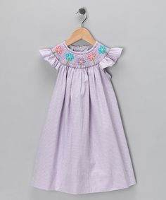 Take a look at this Lilac Seersucker Angel-Sleeve Dress - Infant, Toddler & Girls by Classic Charm: Kids' Smocking on #zulily today!