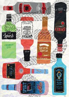 jenni sparks illustration of alcohol bottles Food Illustrations, Illustration Art, Poster Competition, Alcohol Bottles, Liquor Bottles, E Design, Graphic Design, Paper Design, Online Art