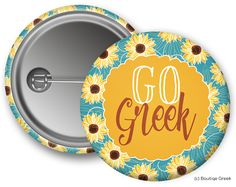 NPC GO Greek Sunflower Button