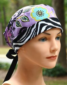 Womens Surgical Scrub Cap  The Mini with RIBBON by thehatcottage