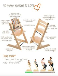 A sustainable modern high chair that grows with your child too. Award-winning Stokke Tripp Trapp Chair