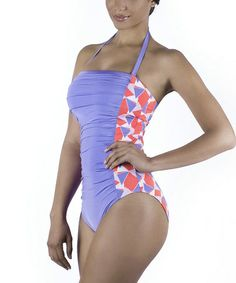 Love this Lilac Geometric Color Block Shirred Emma One-Piece Swimsuit on #zulily! #zulilyfinds