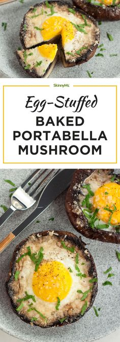 These Egg Stuffed Baked Portobello Mushrooms are perfect! | DebbieNet.com