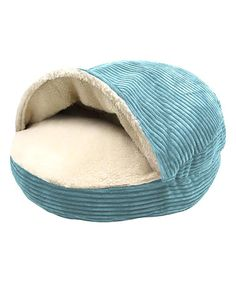 Love this Turquoise Corduroy & Faux Sherpa Hamburger Pet Bed on #zulily! #zulilyfinds