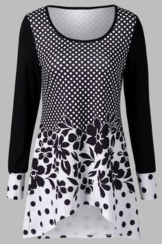 $20.64 Polka Dot and Floral T-Shirt