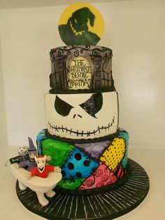Nightmare before Christmas theme cake with painted on patchwork, face, and gate