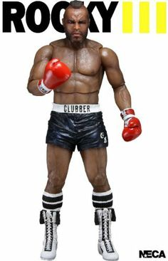 Neca Rocky 3 Clubber Lang with Black Shorts Action Figure by NECA. $22.95. 2012 marks the 30th anniversary of Rocky III, in which Rocky Balboa fights and is beaten bloody by Clubber Lang, losing his world championship. Will he recover and return to glory?  A brand new series of Rocky figures based on Rocky III includes the title hero Rocky, complete with gold boxing shorts and what would this series be without Rocky's opponent - Clubber Lang - available in both bl...