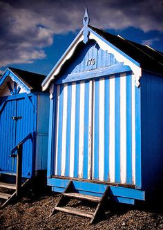 Blue Beach Hut. Available as an A3 limited edition giclee print for £30.00 + P.