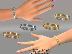 The Sims Resource: Metal bracelet with crystals by NataliS • Sims 4 Downloads