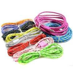Braided Colorful USB Charging Sync Cord Data Cable for Iphone 5 6 plus Iphone 6, Braids, Usb, Lighting Cable, Cord, Colorful, Bang Braids, Electrical Cable, Braid Hairstyles