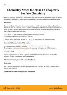 Surface Chemistry Class 12 Notes   Vidyakul Surface Chemistry Notes, Chemistry Class 12, Neet Notes, Study Corner, Arts Integration, Pdf, Desk Nook