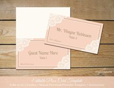 Printable Lace Wedding Place Cards by MyCrayonsPapeterie, $10 // Instant Download Editable Place Cards, Folded