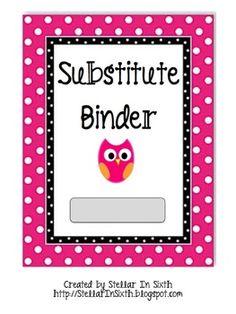 Substitute Binder Owl Theme | Teach.Love.Inspire.-Classroom Ideas ...
