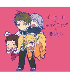 Teruteru Hanamura, Saionji Hiyoko, Hajime Hinata and Chiaki Nanami // SDR2.