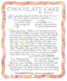 Chocolate-Cake by Susan Branch Old Recipes, Vintage Recipes, Cake Recipes, Dessert Recipes, Cooking Recipes, Recipies, Party Recipes, Branch Art, Flourless Chocolate Cakes