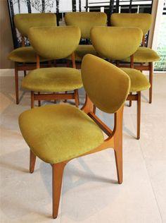 60s Vintage Retro Dining Chairs x 6 Danish Parker Fler Style
