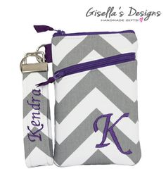 Gray chevron and purple iPhone 7 Wallet with Asymmetric pocket, Personalized iPhone 6 / 6 plus Cover, Samsung Galaxy S6/S7/Note3/Note4.