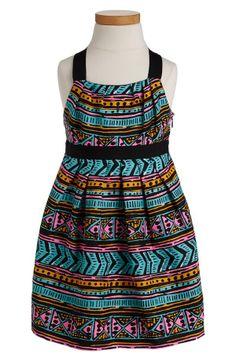 Fun! Neon Aztec print dress.