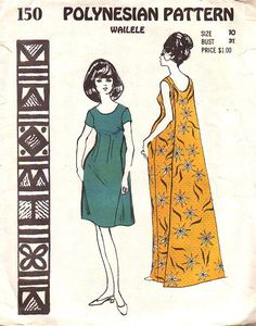 Polynesian Pattern 150 Vintage Hawaiian Wailele Dress. This has a knee length or floor length dress with a scoop neckline front and back. There is a darted nipped waist and a back drape from neckline to hem.