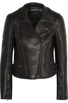 Tom Ford|Textured-leather biker jacket|NET-A-PORTER.COM