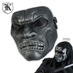ABS Samurai Skeletal Mask Silver & Black